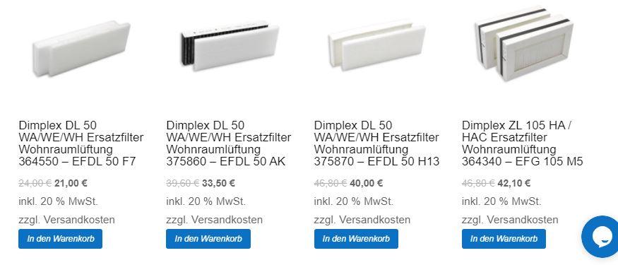 Filter in den Warenkorb legen bei filter-shop.at